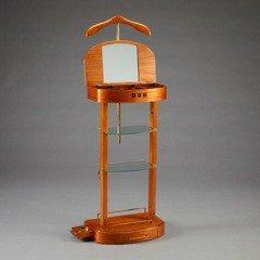 Casa Padrino Designer Luxus Garderoben Ständer mit Spiegel und Regalen Holzfarben - Dressboy -...