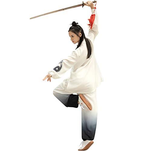 KSUA Unisex Martial Arts Uniform Silk Linen Long Sleeves Tai Chi Suit for Excerises Qi Gong Kung Fu Wung Chun for Women, US S/Tag M
