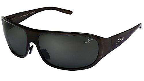 Xezo UV 400 Base Curve 8, occhiali da sole da uomo polarizzati in titanio massiccio, lenti nere, finitura metallizzata, 1,7 oz. Grande.