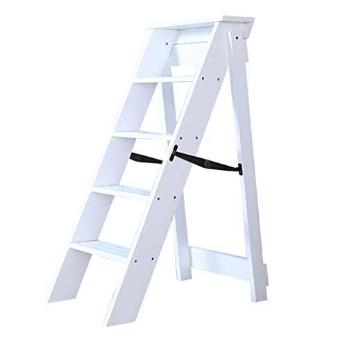 Plegables pasos de escalera Escaleras de madera Taburete plegable, 5 pasos, estante multifunción para escaleras de escalada, para escaleras de tijera para cocina/oficina/biblioteca, blanco