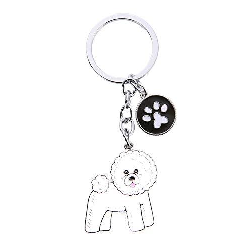 Haodou Pet Puppy Dog Collar Etiqueta de Identidad ID Tarjeta Llavero Llaveros Accesorio Colgante Collar Mini Mascotas Colgante (Bichon Frise)