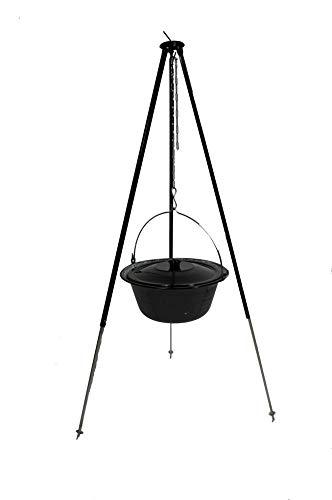 troph-e-shop Set Gulaschkessel 14 L mit Deckel Emaille und Dreibein Teleskop 90-145 cm