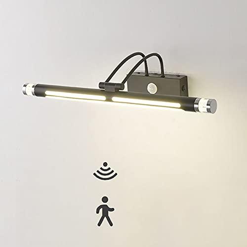 Lámpara de Espejo LED Aplique de Espejo Baño Luz Espejo Baño con Interruptor IP44 Impermeable Moderna Luz de maquillaje Lámpara de Pared con sensor de movimiento 8W 4000K Blanco Neutro 50CM