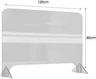 Protective Sneeze Guard made from Clear Acrylic for Offices, Counters, Reception Desks, Cashiers. (120 x 80 cms)