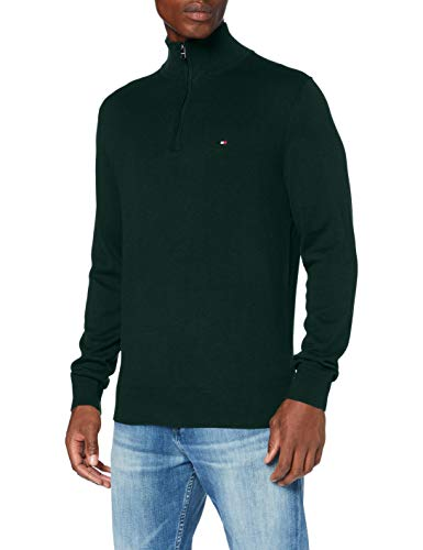 Tommy Hilfiger Herren Organic Cotton Blend Zip Mock Pullover, Hunter Heather, L