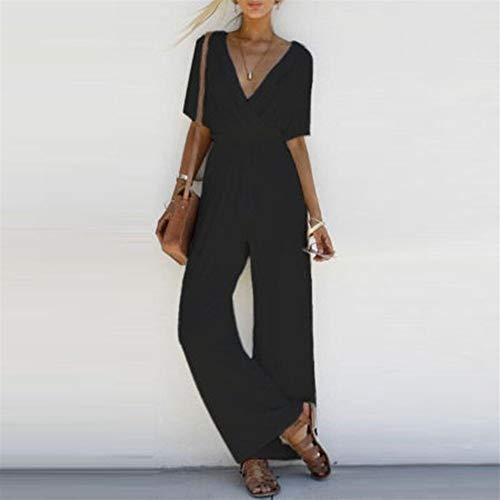 2020 Vrouwen Jumpsuit Romper korte mouw V-hals Casual Playsuit Overalls Dames wijde pijpen Loose Wit Zwart Roze Speelpakje (Size : L)
