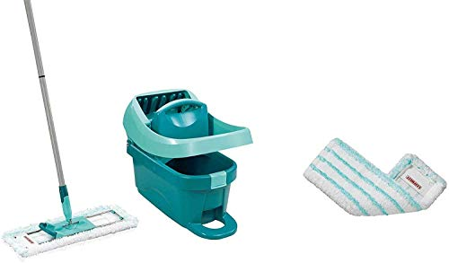 Leifheit Set ruitenwisserpers Profi XL met vloerwisser en wielen incl. reserve overtrek Profi micro duo van microvezel, absorberend en sterk reinigend, set voor poetsen zonder bukken met kliksysteem