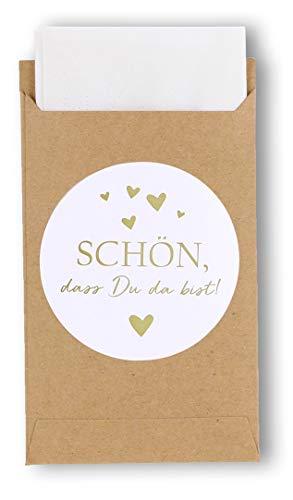 havalime 50 Geschenktüten mit Schön, DASS Du da bist - Sticker, Vintage Kraftpapier Aufkleber Mini Papiertüten Taschentücher Zur Hochzeit Geschenk-Verpackung Schmuck
