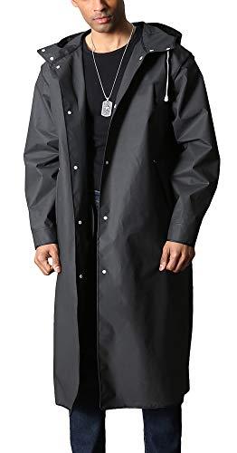 Men's Long Raincoat With Hood Rain Jacket Rain Poncho Rainproof Jacket Hiking Climbing Rainwear Reusable Rain Coat EVA Raincoat