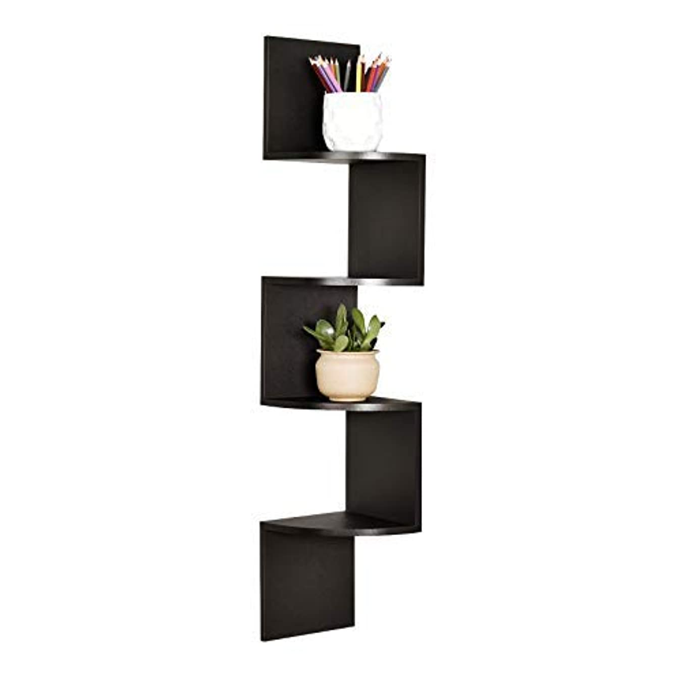 WELLAND Zig Zag 4 Tiers Black Finished Floating Shelf,Wall Mounted Corner Wall Shelf for Bed Room,Living Room,Kitchen and So on
