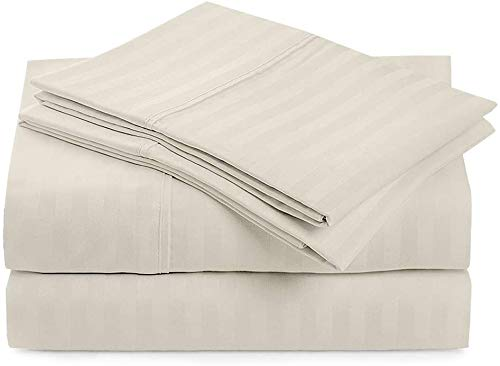 4 PCs Bed Sheet Set, 100% Egyptian Cotton 400 Thread Count, Long-staple Combed Cotton Best-Bedding Sheets For Bed, Breathable, Soft & Silky Sateen Weave Fits Mattress 30 CM, Ivory Stripe, UK Caesar