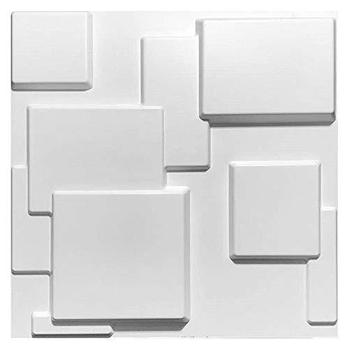 Dekorativer 3D Wandpaneele Wasserdichtes haltbare Textur Wandgestaltung, für modernen Wand-Dekor (10 Fliesen, Sub-White, 27 Sq Ft)