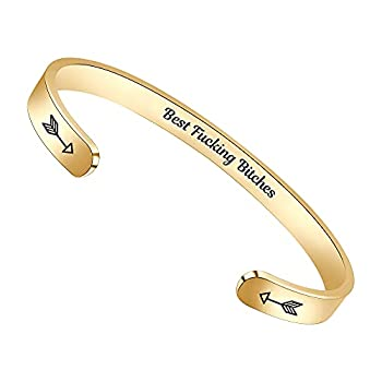 Gold Bracelets for Women Bff Gifts Best Friend Bracelets Funny Friend Gifts for Women Friendship Coworker Quotes Engraved Jewelry