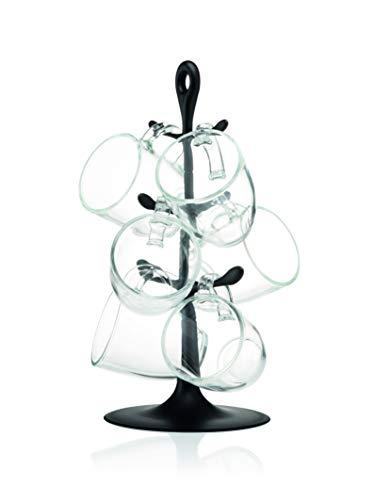Bodum K2110-01 Soporte con juego de 6 tazas de cristal, Vidrio, Negro
