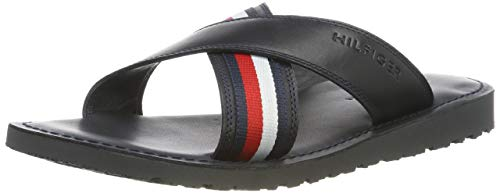 Tommy Hilfiger Criss Cross Leather Sandal, Chanclas para Hombre, Azul (Midnight 403), 45 EU
