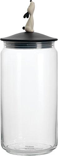 Alessi | LulàJar AMMI21 B - Design Behälter für Hundefutter mit Dekorierter Deckel,  Glas un Thermoplastisches Harz, Schwarz