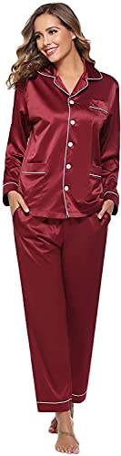 QIN.J.FANG-MY 2pcsHomewear Pijamas de Mujer, Conjunto de Ropa de Dormir de satén, Ropa de Dormir de Manga Larga y con Botones Largos, Ropa de Dormir para Todas Las Estaciones