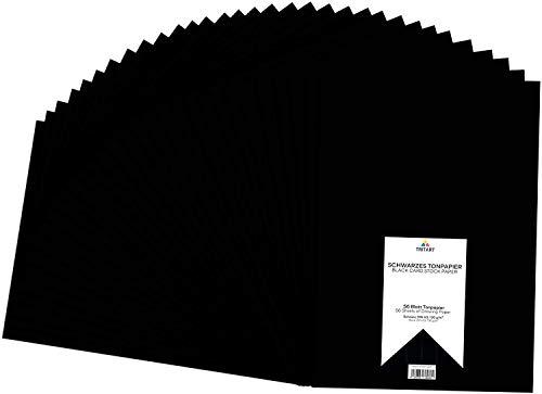 Tritart - Tonpapier Schwarz A3 130g /m² I 56 Blatt festes Bastelpapier HOCHWERTIG I stabiles kreativ Zeichenpapier zum Basteln und Malen I fester Zeichenkarton I DIY Tonzeichenpapier Schwarz