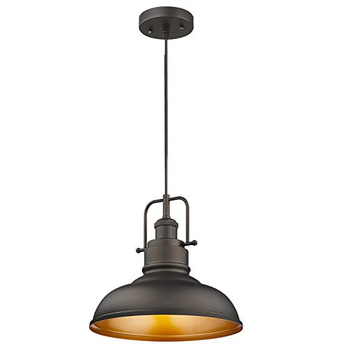 Zeyu Farmhouse Pendant Light, 1-Light Industrial Hanging...