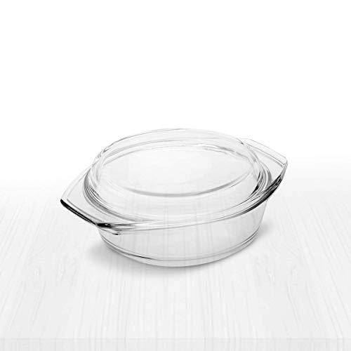 Simax Small Clear Round Glass Casserole | Lid Doubles as Small Baking Dish, Heat, Cold and Shock Proof, Made in Europe, Oven, Freezer and Dishwasher Safe, 0.75 Quart, 8 Inch Diameter