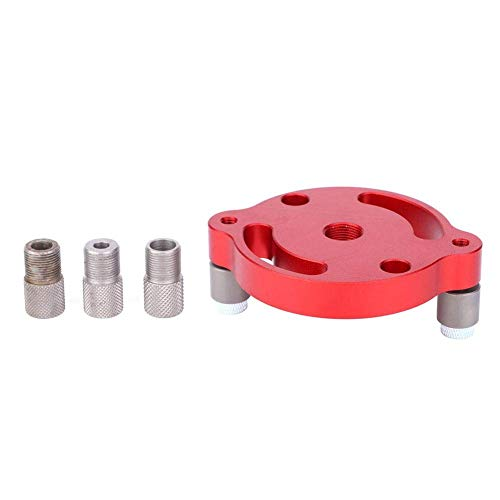 ZYL-YL Woodworking Hole Puncher,Aluminum Alloy Wood Panel Center Punching Gauge,Carpentry Drill Guide Locator with Drill Sleeve(Red)