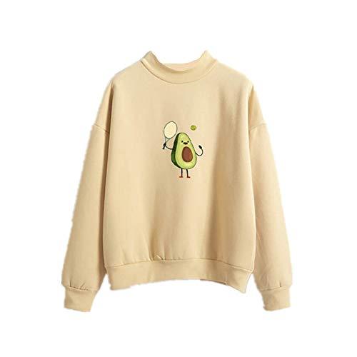 Avocado Falls in Love with Tennis Sweatshirt Hoodie Avocado Love Sport Print Fleece Loose Gr. M, gelb