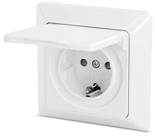 Enchufe para ambientes húmedos con tapa abatible IP44, todo en uno, marco + inserto + cubierta + anillo de silicona, P1, color blanco