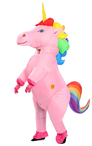 GOPRIME Adult Size Inflatable Rainbow Unicorn Costume Halloween Costume (Rainbow Large)
