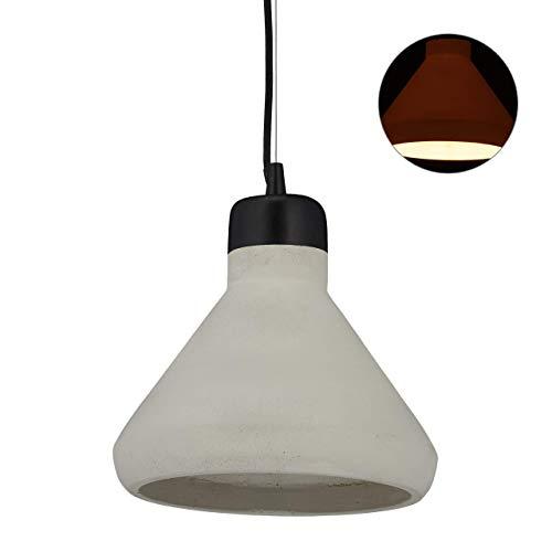 relaxdays Lampadario a Sospensione, Paralume in Cemento, Lampada da Soffitto Vintage, E27, HxD: 119 x 26 cm, grigio/nero, 1 Pz