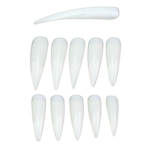 500 XL Stiletto Tips in Clear - Nailtips zur Präsentation Mustertips Showtips - Gelmodellage extrem