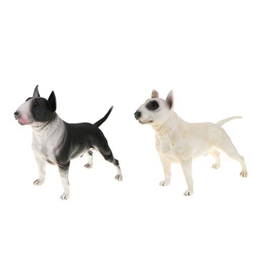 Fenteer 2stk. Bullterrier Dekofigur Hund Gartenfigur Tier Modell, Größe: 22 x 8,5 x 14,7 cm