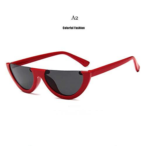 Half Frame Trend Zonnebril Vrouwen Semicirkel Zonnebril Retro Dames Sexy Kat Oogschaduw Kleurrijke Wit Zwart Rood rood