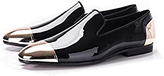 Jeder S New Mens White/Black Wedding Dress Shoes Patent Leather Handmade Loafers Shoes for Men Party Driving Plus Size Fla...