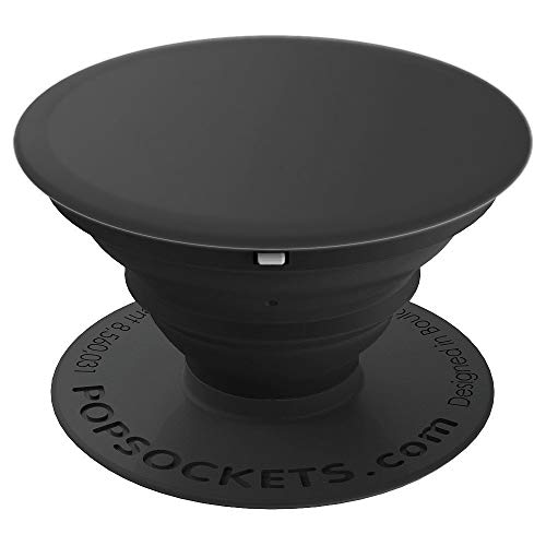 T Black Phone Popper Grip - Solid Color PopSockets Grip and Stand for Phones and Tablets