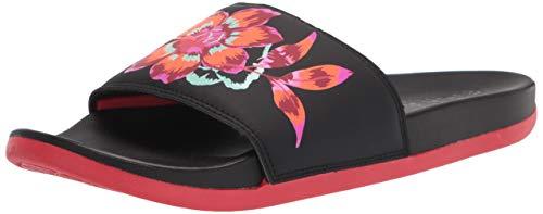 adidas Women's Adilette Comfort Slide Sandal, Core Black/Core Black/Vivid Red, 8