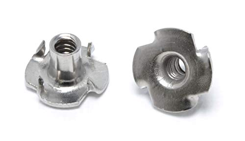 Stainless T-Nuts, 6-32, (25 Pack), Threaded Insert, Choose Size/Quantity, by Bolt Dropper, Pronged Tee Nut. (#6-32 X 1/4