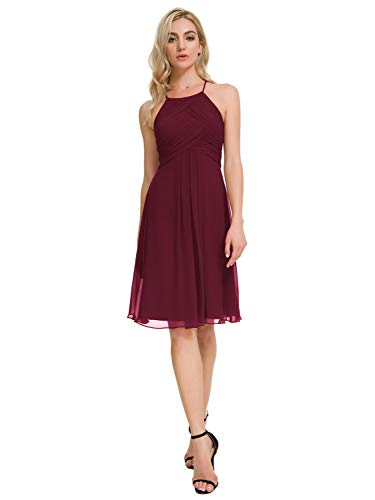 Alicepub Halter Chiffon Bridesmaid Dresses Short Homecoming Formal Party Dress for Special Occasion, Burgundy, US14