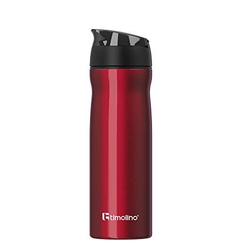 Timolino Botella de agua prémium de acero inoxidable, botella de agua para deporte, para el tiempo libre, camping, 600 ml, a prueba de fugas, a prueba de arañazos, color rojo