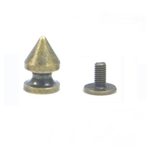 Angelakerry 10pcs Copper Rivet Cone Spikes Spots Screw Studs Punk Leather Rock Back Craft DIY Bullet
