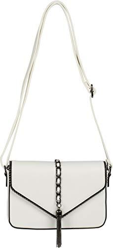 styleBREAKER Bolso de Bandolera de Mujer en diseño de sobre con Tachuelas, Cadena y Borla, Bolso de Hombro, Bolso de Mano, Bolso 02012274, Color:Blanco