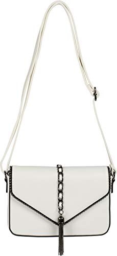 styleBREAKER dames schoudertas in enveloppenontwerp met bolletjes, ketting en kwastje, schoudertas, handtas, tas 02012274, Farbe:Wit