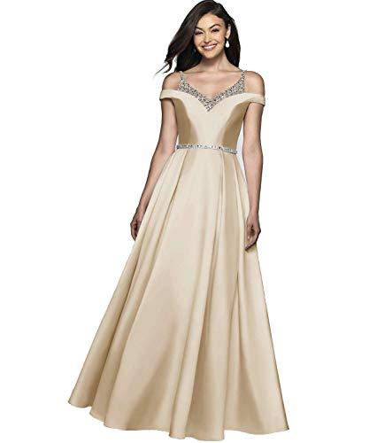 Damen Abendkleider Ballkleid Lang Satin Brautkleid Prinzessin Hochzeitskleid Partykleid A-Linie Festkleid Champagne 50