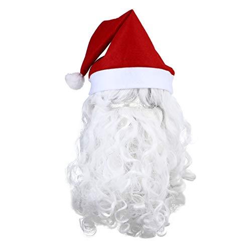 Beaupretty Peluca de Papá Noel y barba, juego de 3 piezas, peluca de Papá Noel, peluca y barba, disfraz de Navidad, cosplay, para adultos