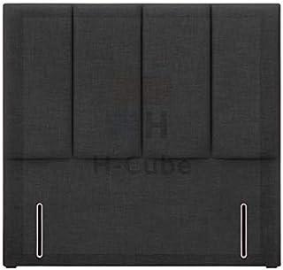H-Cube meble tapicerowane łóżko łóżko podstawa zagłówek tkanina lniana grubość 7,5 cm 140 cm seria stojąca (węgiel drzewny...