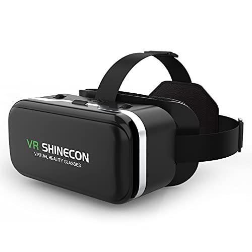 VR SHINECON VR Brille Handy Virtual Reality Headset, 3D VR-Brille Erleben Sie Spiele und 360 Grad Filme in 3D mit weicher & komfortabler VR Brille Glasses für iPhone Samsung Android Handy 4.7-6.5 Zoll