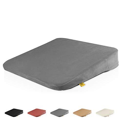 Mister Mountain® Premium Keilkissen - Bequemes Sitzkissen mit Anti-Rutsch-Funktion für Homeoffice und Büro – Sitzkeil für eine bessere Körperhaltung 38x38x7/2cm (Grau)