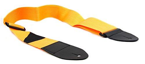 Universeller Schulter-Tragegurt mit Befestigungshaken aus Nylon und PU-Leder - perfekt für aller Art Gitarren: akkustische, Elektrische-, Bass- oder Konzert-Gitarren - Farbe: Gelb