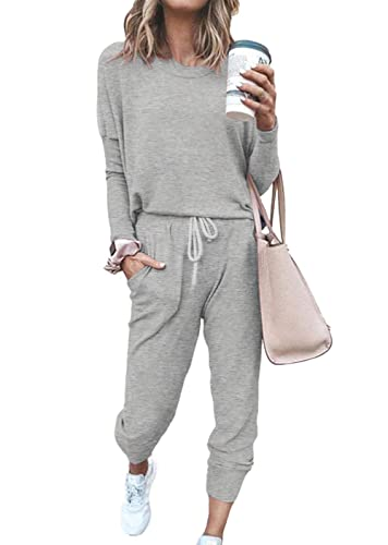 ETCYY NEW Lounge Sets for Women Sweatsuits Sets Two Piece Outfit Long Sleeve Pant Workout Athletic Tracksuits Grey