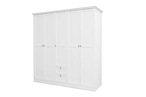 lifestyle4living Kleiderschrank, Weiß, 190 cm | Drehtürenschrank 5 türig mit 2 Schubladen, 2 Kleiderstangen im Landhausstil