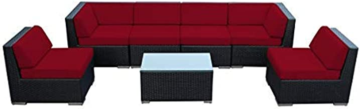Ohana 7-Piece Outdoor Patio Furniture Sectional Conversation Set, Black Wicker with Sunbrella Jockey Red Cushions - No Assembly with Free Patio Cover